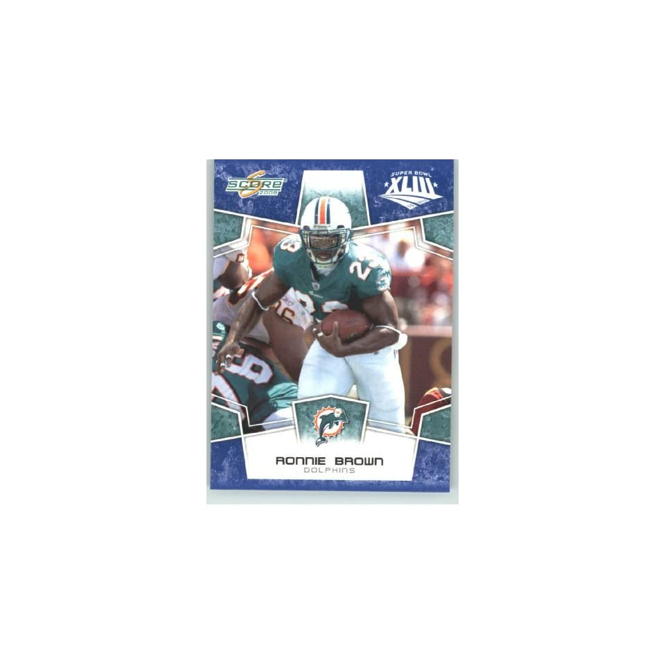 2008 Donruss / Score Limited Edition Super Bowl XLIII Blue Border # 161 Ronnie Brown   Miami Dolphins   NFL Trading Card in a Prorective Screw Down Display Case