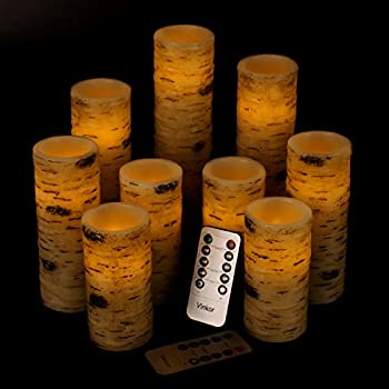 Vinkor Flameless Candles Battery Operated Candles Birch Bark Effect 4