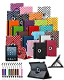 Amazon Kindle Fire HDX 7 inch 2013 Model Tablet 360° Rotating Swivel Executive PU Leather Folio Case Stand Cover with Mini Stylus Touch Pen and Screen Protector - Dark Purple with White Polkadot