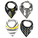 Bandana-Bib-Set-of-4-by-Matimati-Baby-Extra-Absorbent-Drool-Bibs-with-Snaps-for-Boys-Girls-Gold-Gray