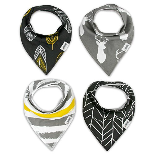 Matimati Baby Bandana Drool Bibs with Snaps, 4-Pack Extra Absorbent for Boys & Girls (Gold & Gray Set)