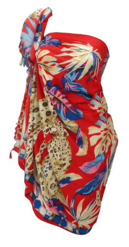 La Leela Tiger Printed Beachwear Sarong Wraps Red