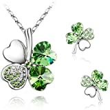 KATGI Fashion Austrian Crystal Lucky Four Leaf Clover Necklace, Bracelet, or Earrings
