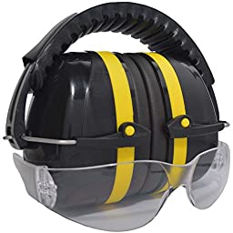 Shooters Earmuffs Gun Range Pack with Clear Safety Glasses for Hunting Industrial Yard Work or Nascar