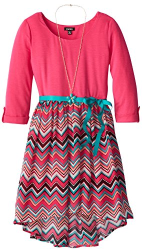 Zunie Big Girls' Scoop Neck High Low Dress, Pink/Multi, Small front-792085