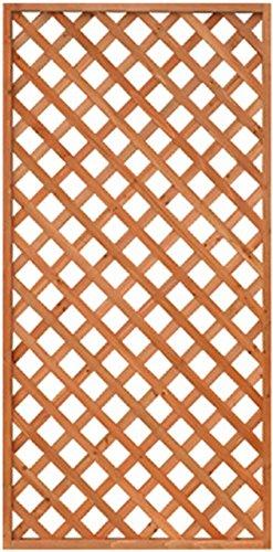 天然木製 格子ラティス 90cm×180cm×35mm 1枚 ライトブラウン WLL-9018T
