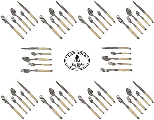 Authentic Laguiole - Horn - Full Complete 50 Pcs Flatware Set For 10 People - In Heavier 25/10 Stainless Steel (Real French Jean Dubost Laguiole - Quality Cutlery Family White Cream Color Table Dinner Setting - With Certificate Of Authenticity - Direct Fr