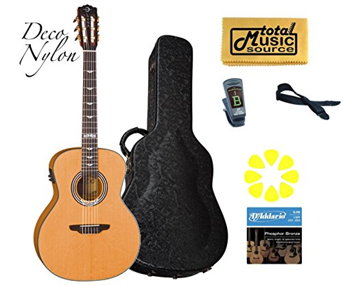 Luna Artist Deco Nylon Acoustic Electric Guitar, Art Deco Nyl