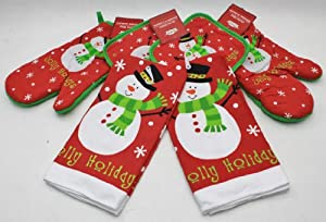 Snowman Novelty Kitchen Accessories Set Of 6 (Includes 2 Pot Holders, 2 Oven Mitts & 2 Towels)