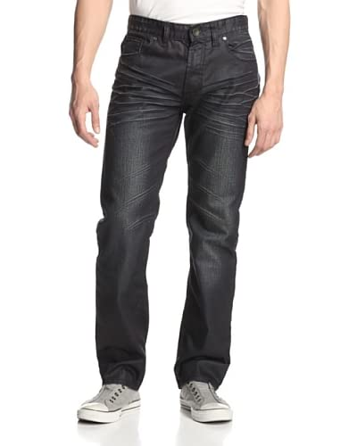 X-RAY Men's 5 Pocket Straight Leg Jean with Whisker Details