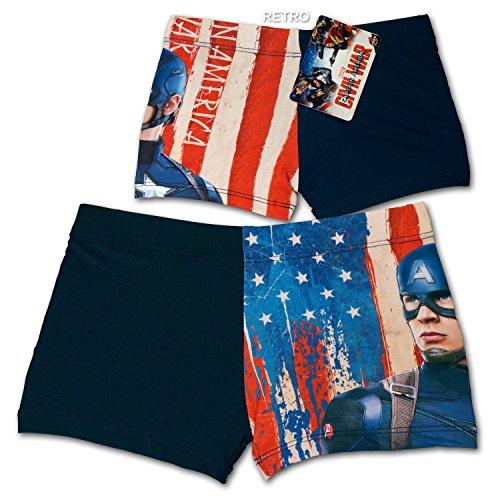 Marvel Avengers Captain America - Costume Boxer Short Mare Piscina - Civil War - Bambino - Novità Prodotto Originale 3199 [Blu - 6 anni]