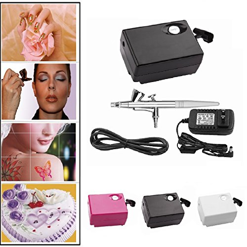 Pinkiou AirBrush Makeup kit Spray Gun Set with Mini Compressor for Cake Decoration Nail Painting Temporary Tattoo Hobby Art(Black) (Airbrushing Machine compare prices)
