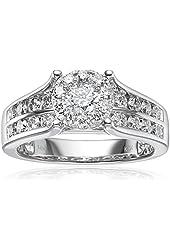 14k White Gold Unity Diamond Engagement Ring (1 1/2 cttw, H-I Color, I1-I2 Clarity), Size 7