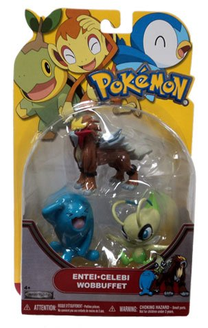 Buy Low Price Jakks Pacific Pokemon Series 19 Basic Figure 3Pack Wobbuffet, Entei Celebi (B004WLKUB2)