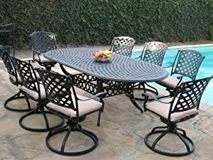 Cast Aluminum Outdoor Patio Furniture 9 Piece Expandable Dining
