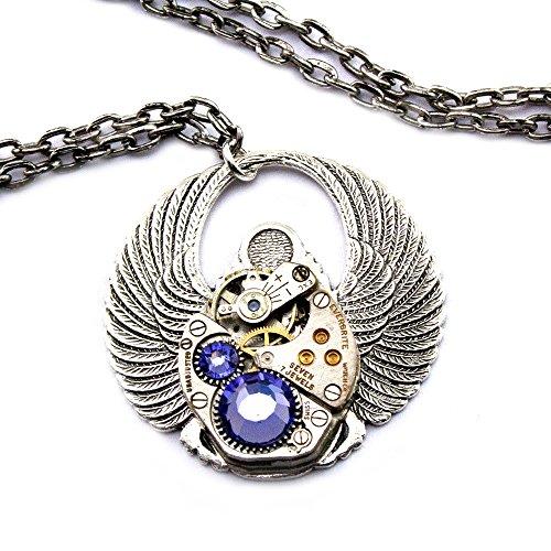 Steampunk-Necklace-Clockwork-Scarab-Pendant-with-Tanzanite-Purple-Swarovski-Crystals-in-silver-plate-jewelry-tones