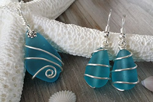 Handmade in Hawaii,Wire wrapped blue sea glass necklace + earrings jewelry set, sterling silver chain,gift box,sea glass earrings, sea glass jewelry,beach glass jewelry,Hawaiian jewelry (Handmade Wire Jewelry compare prices)
