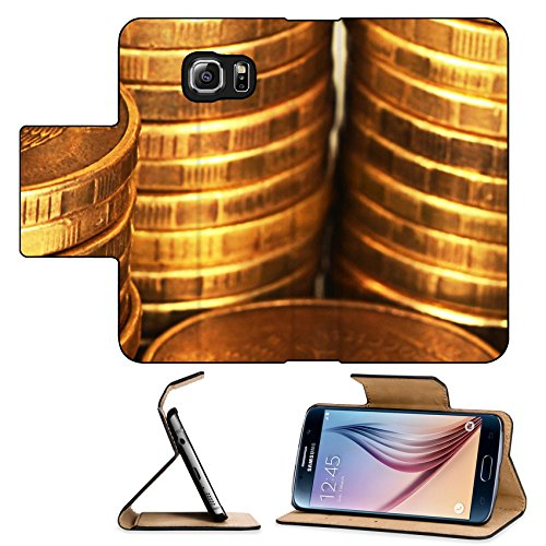Luxlady Premium Samsung Galaxy S6 Flip Pu Leather Wallet Case Gold money stack close up Business concept IMAGE 35646397