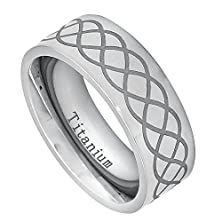 buy Free Engraving - 8Mm High Polished Titanium Pipe-Cut With Laser Engraved Infinity Design Wedding Band Ring For Men Or Ladies