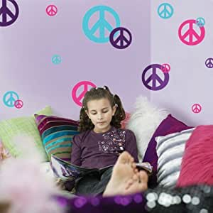 Peace Sign Wall Decals-(24) Hot Pink, Teal & Purple Vinyl Peel & Stick Appliques'