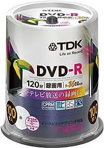 【Amazon.co.jp限定】TDK 録画用DVD-R デジタル放送録画対応(CPRM) 1-16倍速 インクジェットプリンタ対応(ホワイト・ワイド) 100枚スピンドル DR120DPWC100PU-AM