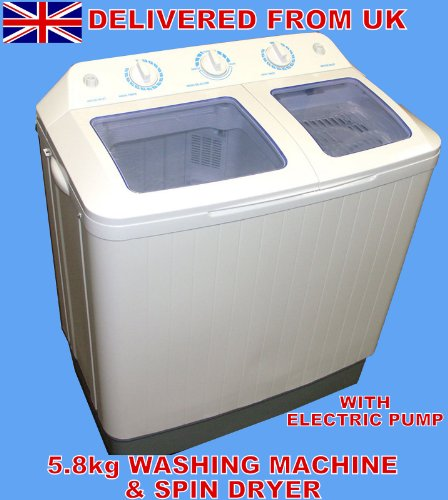 5.8KG PORTABLE TWIN TUB WASHING MACHINE AND SPIN DRYER