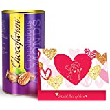 Valentine's GREETING CARD And CHOCOLATES For Love, Valentine Day Special Gift Greeting Card, Roasted Almonds Chocolates