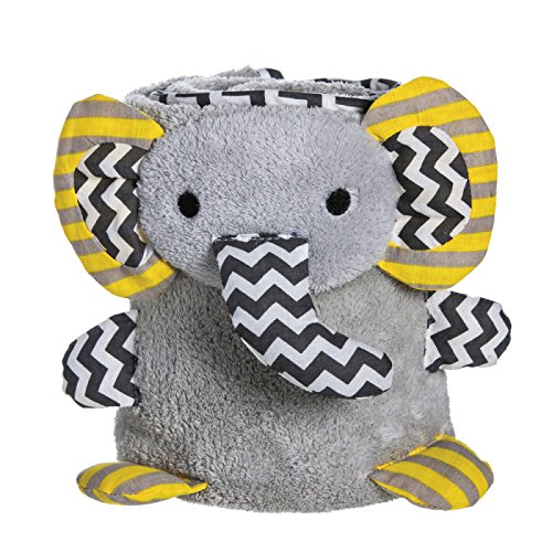 Grey Chevron Elephant Rolled Baby Blanket