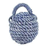 Heavy Rope Sailor's Knot Ball Doorstop, 5-inch Diameter, Blue/Purple, Whitewash