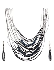 Mask Fashions Silver Metal Blue Beads Necklace For Women