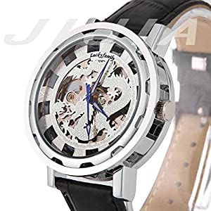 Gift In Box Sliver Dragon Skeleton Dial Black Genuine Leather Atomatic Mechanical Men's Watch G8118-02
