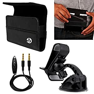 VanGoddy Jet Black Portola Holster Carrying Case for Alcatel OneTouch Series Smartphones + Windshield Mount + Auxiliary Cable