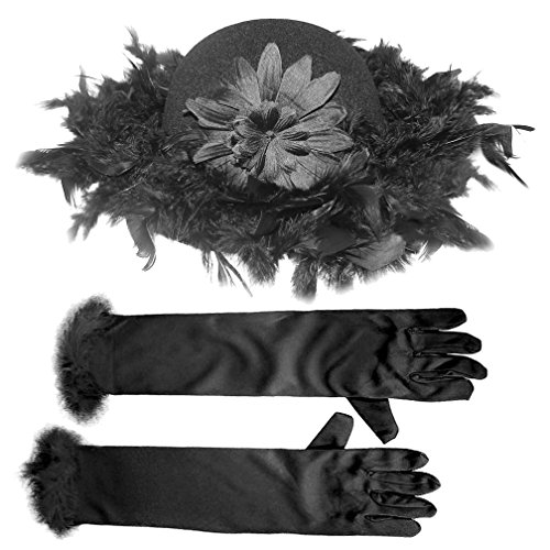 Tea Party Black Hat Long Black Gloves Set