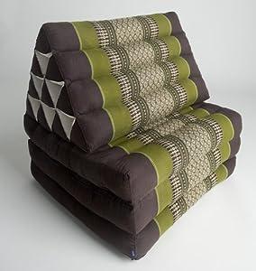 Three-fold Thai mattress with triangle cushion (Dark Brown, Green, White), Kapok