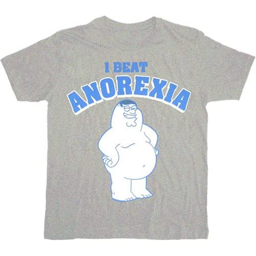 Family guy peter i beat anorexia gray t shirt tee for Family guy t shirts amazon