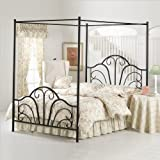 Hillsdale Furniture 348BQPR Dover Canopy Bed Set with Rails and Legs, Textured Black