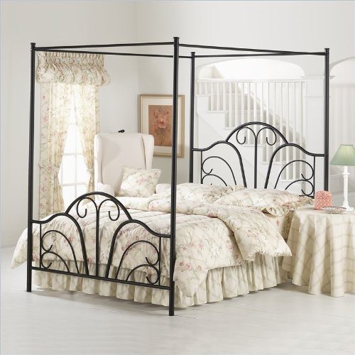 Canopy beds for girls queen hillsdale dover black metal for Brass canopy bed frame