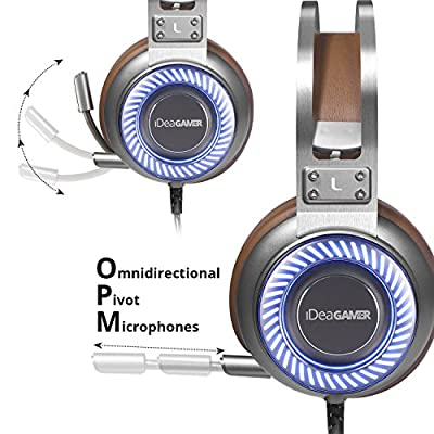 Gaming Headset, 7.1 Surround Sound 4D Gamer Headphones with In-line Control Microphone by iDeaUSA