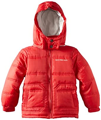 Calvin Klein Little Boys' Bubble Jacket, True Red, 4
