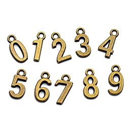 Be Nice 100Pcs Bronze Plated Assorted Number 0-9 Charms Pendants for DIY Fashion Jewelry Bracelet Making and Crafting