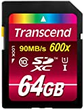 Transcend 64GB SDXC Class 10 UHS-1 Flash Memory Card Up to 90MB/s (TS64GSDXC10U1)
