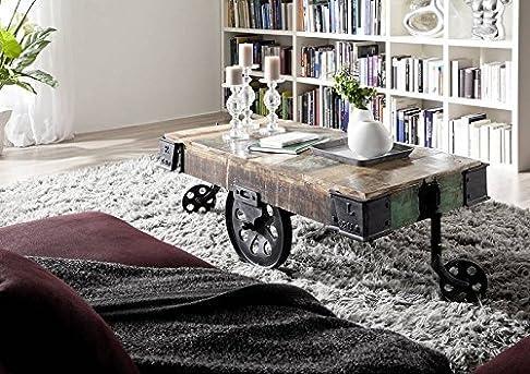 legno antico laccato industriale stile Tavolino da salotto 120x60 MOBILI IN LEGNO MASSELLO FERRO IN LEGNO MASSELLO INDUSTRIALE #18
