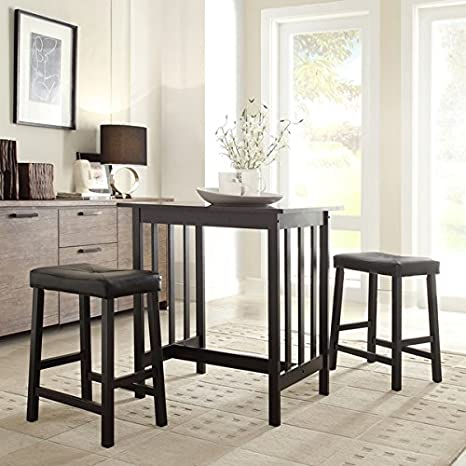 3 Piece Bistro Kitchen Dining Table and Chairs Set Black Upholstered Fabric Wood Bar Stools Island Breakfast Nook Tall Counter Height Saddle Back Dinner Seating Dishes Area Rug Home Decor Not Included