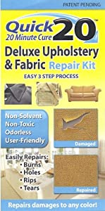 quick 20 deluxe upholstery fabric repair kit easily repairs burns holes rips tears use on. Black Bedroom Furniture Sets. Home Design Ideas