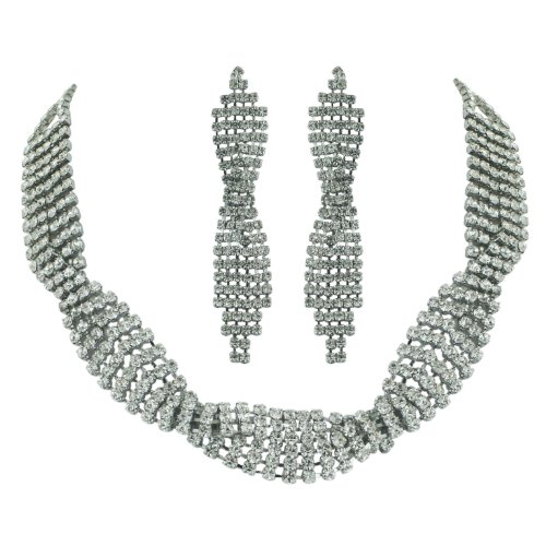 Brass Rhodium 15 inches Necklace Earrings Colorless Crystal Soft Links Multi Rows Criss Cross