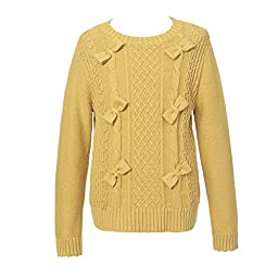 Richie House Girls\' Twisted Pullover Sweater with Bows Rh1953-a-6/7