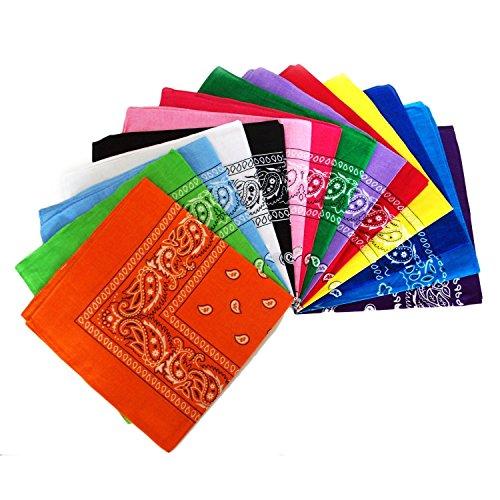 12-er-Set-Bandana-Tuch-versch-Farben-100-Baumwolle-Kopftuch-Halstuch-Nickituch-Schal-ledemodefashion