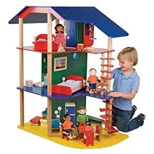 Big Beautiful Dollhouse and Furniture & Both Families For Kids