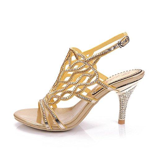 Ei&iLI Sandali strass peeptoe scarpe da sposa donna sera ballo sandali , gold , 44