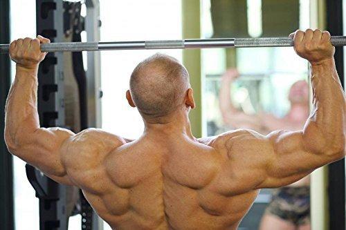 Wallmonkeys WM328398 Back of Bodybuilder Raising Barbell in Gym Hall before Mirror Peel and Stick Wall Decals (72 in W x 48 in H) by Wallmonkeys [並行輸入品]